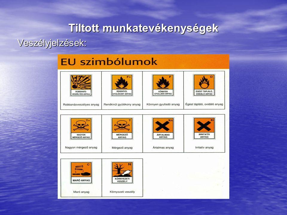 Tiltott munkatevékenységek Veszélyjelzések: