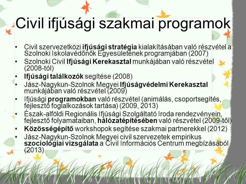 Civil ifjúsági szakmai programok Civil szervezetközi ifjúsági stratégia kialakításában való részvétel a Szolnoki Iskolavédőnők Egyesületének programjá