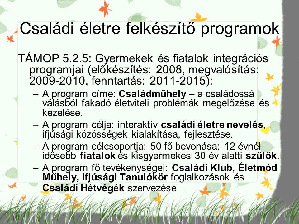 Családi életre felkészítő programok TÁMOP 5.2.5: Gyermekek és fiatalok integrációs programjai (előkészítés: 2008, megvalósítás: 2009-2010, fenntartás: