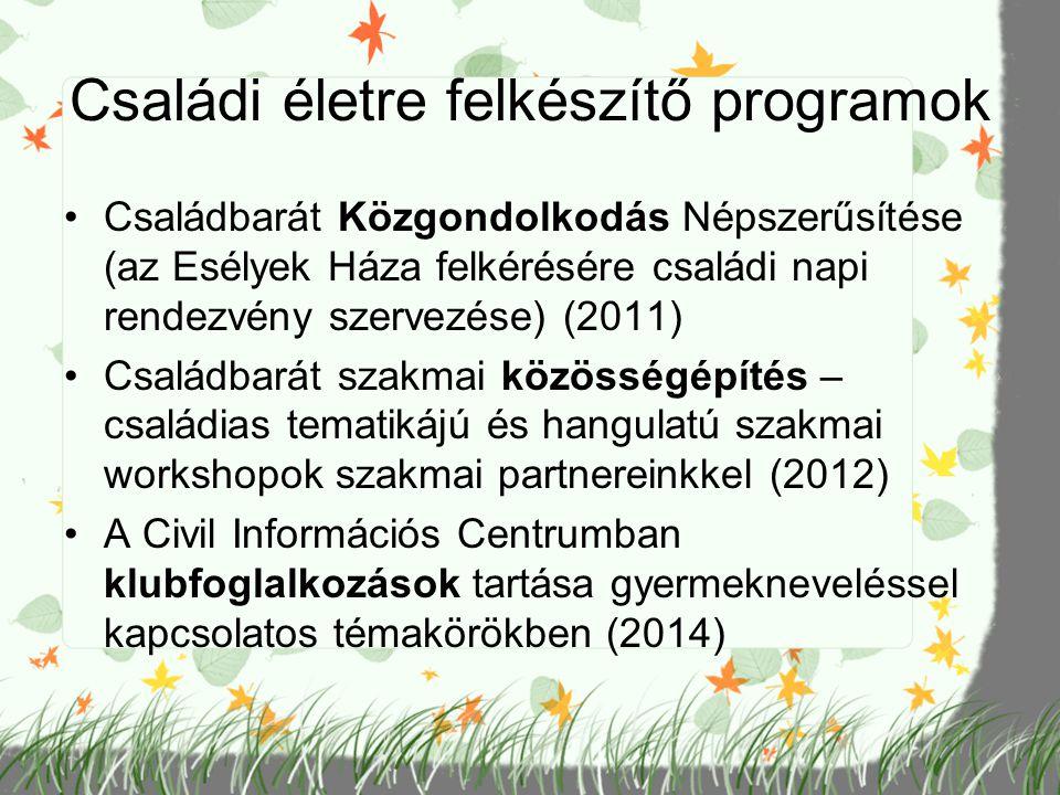 Családi életre felkészítő programok Családbarát Közgondolkodás Népszerűsítése (az Esélyek Háza felkérésére családi napi rendezvény szervezése) (2011)