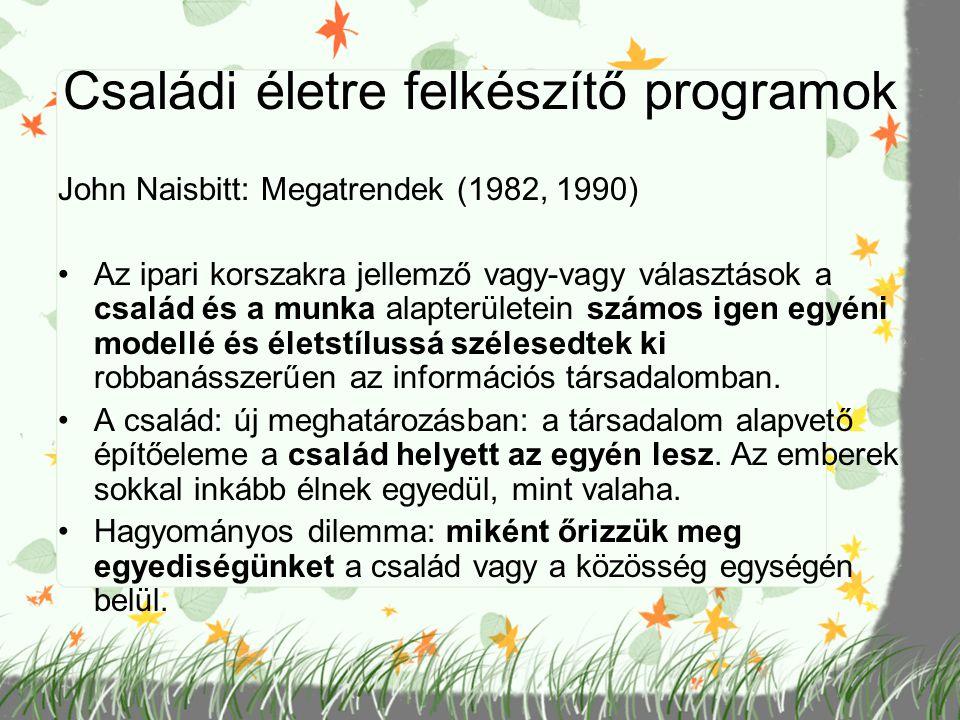 Családi életre felkészítő programok John Naisbitt: Megatrendek (1982, 1990) Az ipari korszakra jellemző vagy-vagy választások a család és a munka alap