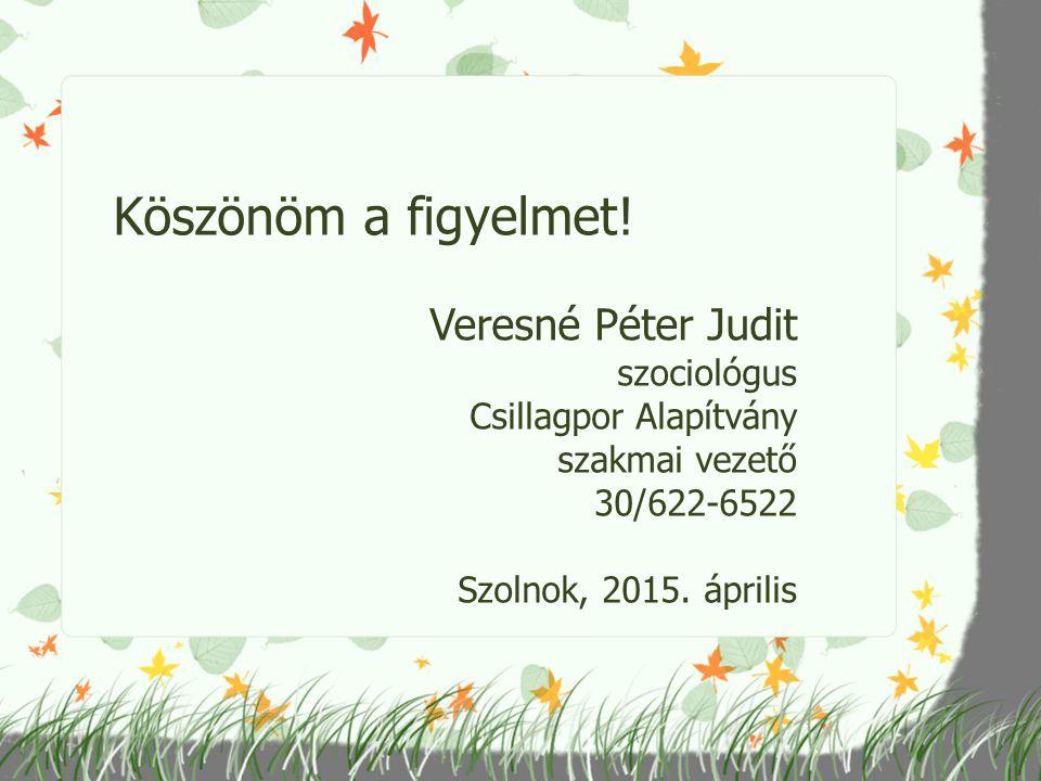 Köszönöm a figyelmet! Veresné Péter Judit szociológus Csillagpor Alapítvány szakmai vezető 30/622-6522 Szolnok, 2015. április