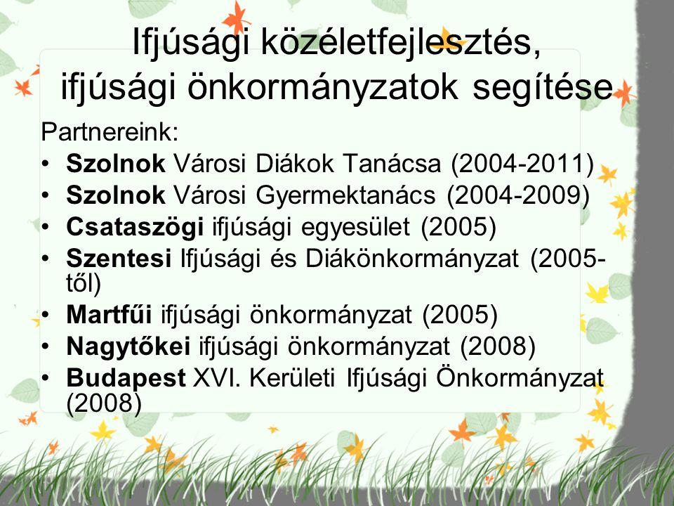 Ifjúsági közéletfejlesztés, ifjúsági önkormányzatok segítése Partnereink: Szolnok Városi Diákok Tanácsa (2004-2011) Szolnok Városi Gyermektanács (2004