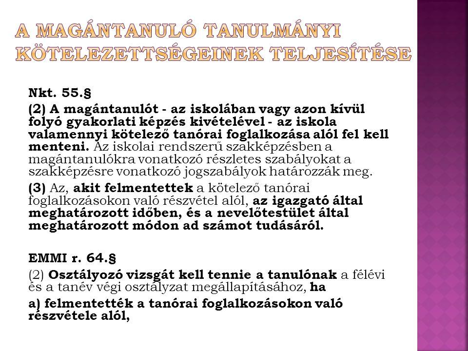 Nkt. 55.§ (2) A magántanulót - az iskolában vagy azon kívül folyó gyakorlati képzés kivételével - az iskola valamennyi kötelező tanórai foglalkozása a