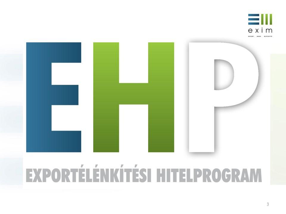 4 AZ EHP CÉLJA a magyar export-szektor, kiemelten a kkv szektor versenyképességének erősítése az exportcélú beruházások, ezen keresztül a munkahelyteremtés ösztönzése a magyar kkv-k exportpiaci pozíciójának javítása, hazai beszállítói tevékenységük finanszírozási hátterének megerősítése a magyar pénzügyi közvetítőrendszer, azaz a bankrendszer hitelezési képességének és készségének erősítése