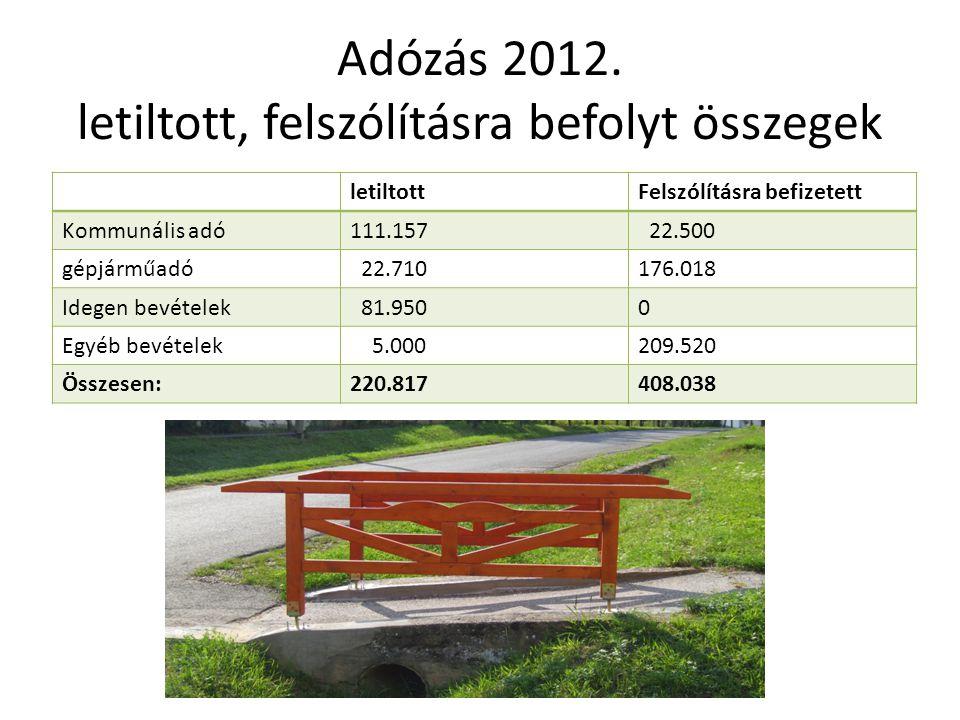 Adózás 2012. letiltott, felszólításra befolyt összegek letiltottFelszólításra befizetett Kommunális adó111.157 22.500 gépjárműadó 22.710176.018 Idegen