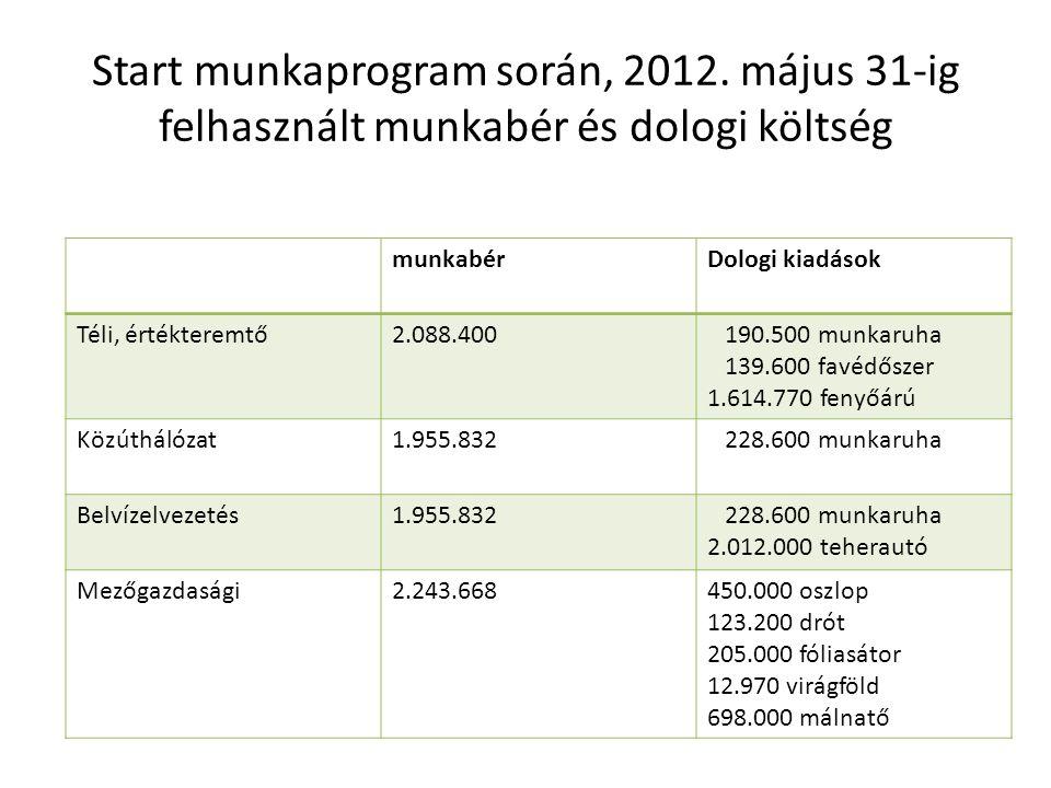 Start munkaprogram során, 2012. május 31-ig felhasznált munkabér és dologi költség munkabérDologi kiadások Téli, értékteremtő2.088.400 190.500 munkaru