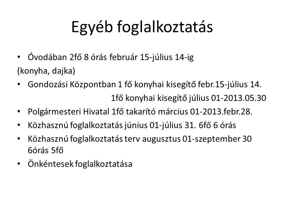 Egyéb foglalkoztatás Óvodában 2fő 8 órás február 15-július 14-ig (konyha, dajka) Gondozási Központban 1 fő konyhai kisegítő febr.15-július 14. 1fő kon