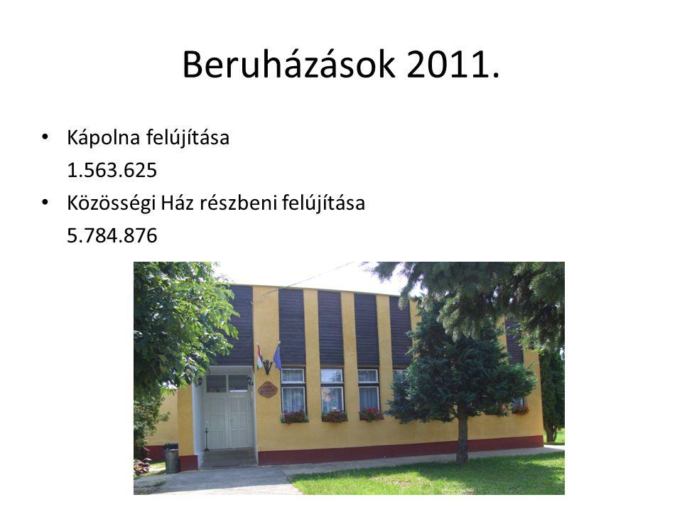 Beruházások 2011. Kápolna felújítása 1.563.625 Közösségi Ház részbeni felújítása 5.784.876