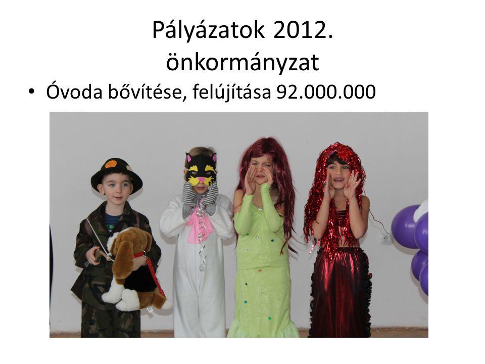 Pályázatok 2012. önkormányzat Óvoda bővítése, felújítása 92.000.000