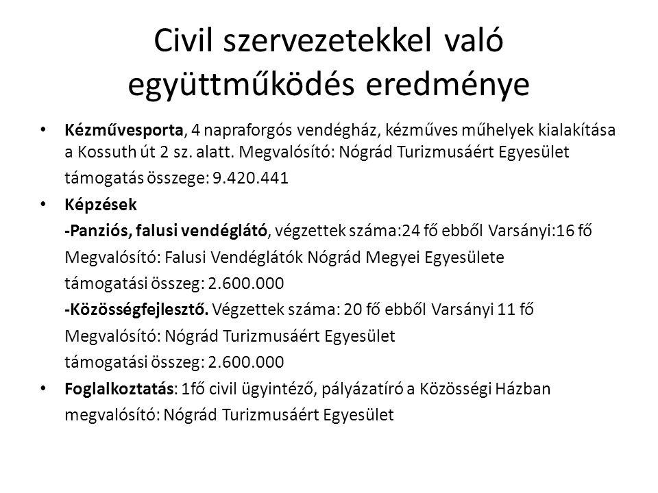 Civil szervezetekkel való együttműködés eredménye Kézművesporta, 4 napraforgós vendégház, kézműves műhelyek kialakítása a Kossuth út 2 sz. alatt. Megv