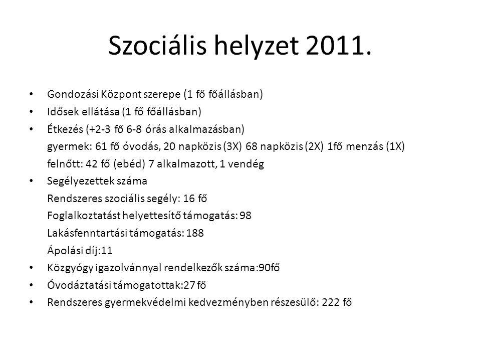 Szociális helyzet 2011. Gondozási Központ szerepe (1 fő főállásban) Idősek ellátása (1 fő főállásban) Étkezés (+2-3 fő 6-8 órás alkalmazásban) gyermek
