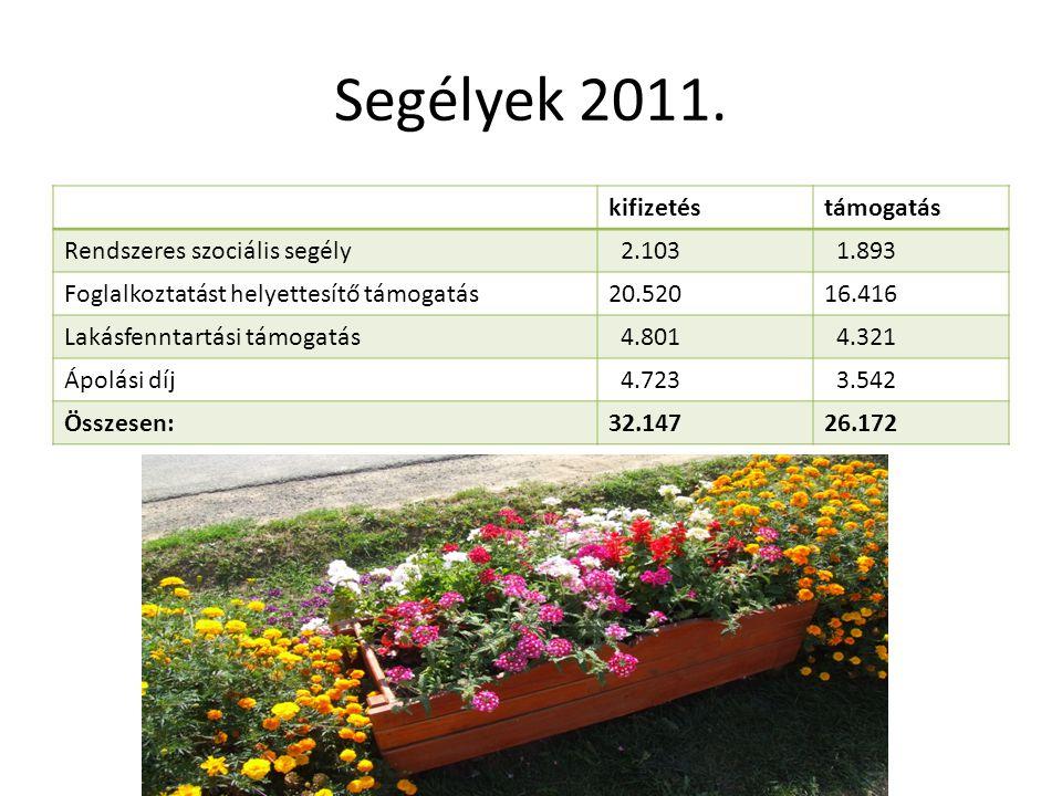 Segélyek 2011. kifizetéstámogatás Rendszeres szociális segély 2.103 1.893 Foglalkoztatást helyettesítő támogatás20.52016.416 Lakásfenntartási támogatá