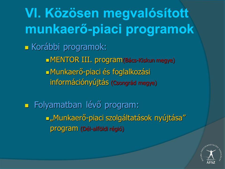 VI. Közösen megvalósított munkaerő-piaci programok Korábbi programok: Korábbi programok: MENTOR III. program (Bács-Kiskun megye) MENTOR III. program (