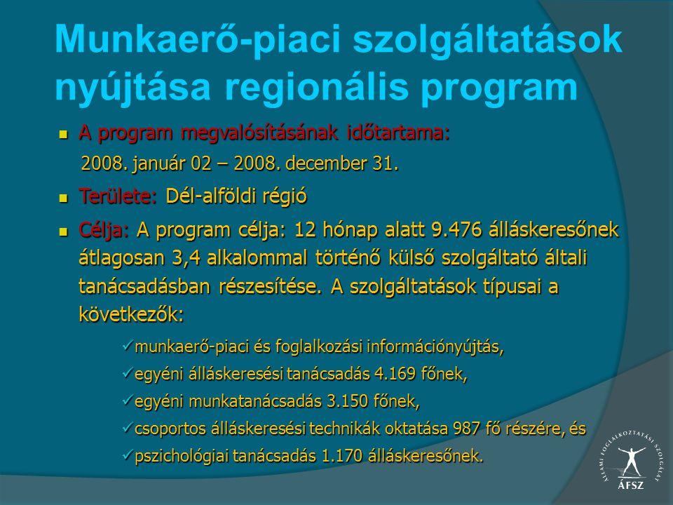 Munkaerő-piaci szolgáltatások nyújtása regionális program A program megvalósításának időtartama: A program megvalósításának időtartama: 2008. január 0