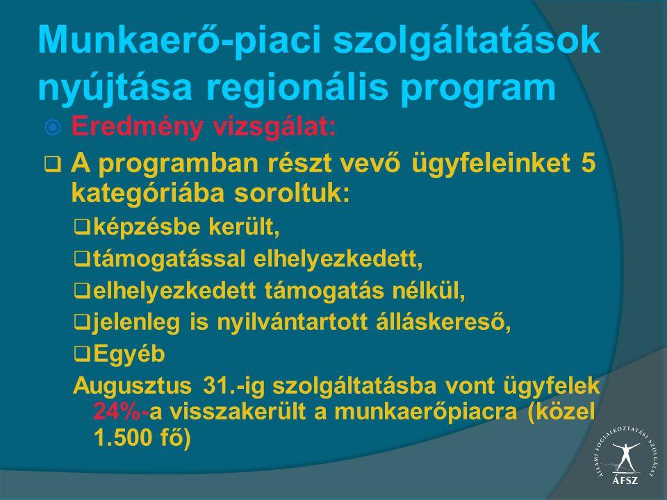 Munkaerő-piaci szolgáltatások nyújtása regionális program  Eredmény vizsgálat:  A programban részt vevő ügyfeleinket 5 kategóriába soroltuk:  képzé