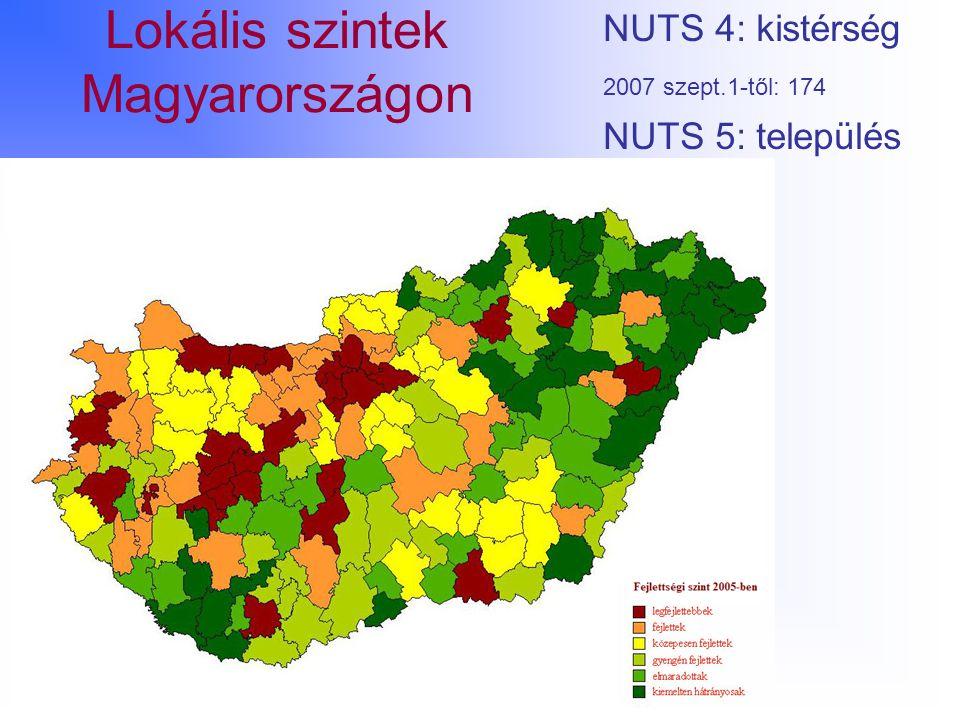 Lokális szintek Magyarországon NUTS 4: kistérség 2007 szept.1-től: 174 NUTS 5: település