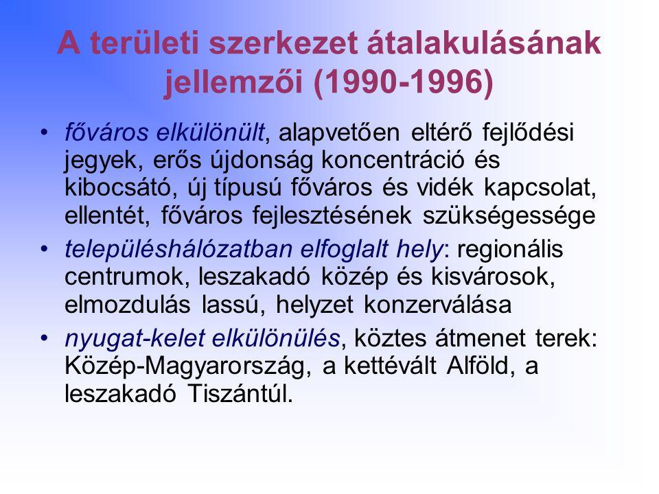 A területi szerkezet átalakulásának jellemzői (1990-1996) főváros elkülönült, alapvetően eltérő fejlődési jegyek, erős újdonság koncentráció és kibocs