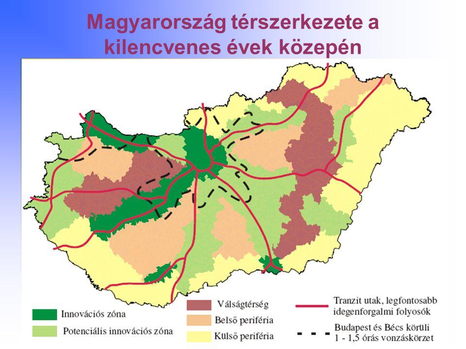 Magyarország térszerkezete a kilencvenes évek közepén