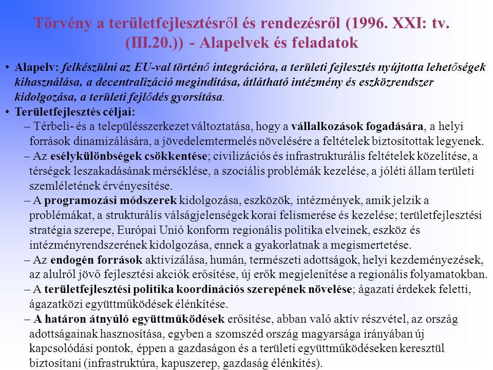 Törvény a területfejlesztésről és rendezésről (1996. XXI: tv. (III.20.)) - Alapelvek és feladatok Alapelv: felkészülni az EU-val történő integrációra,