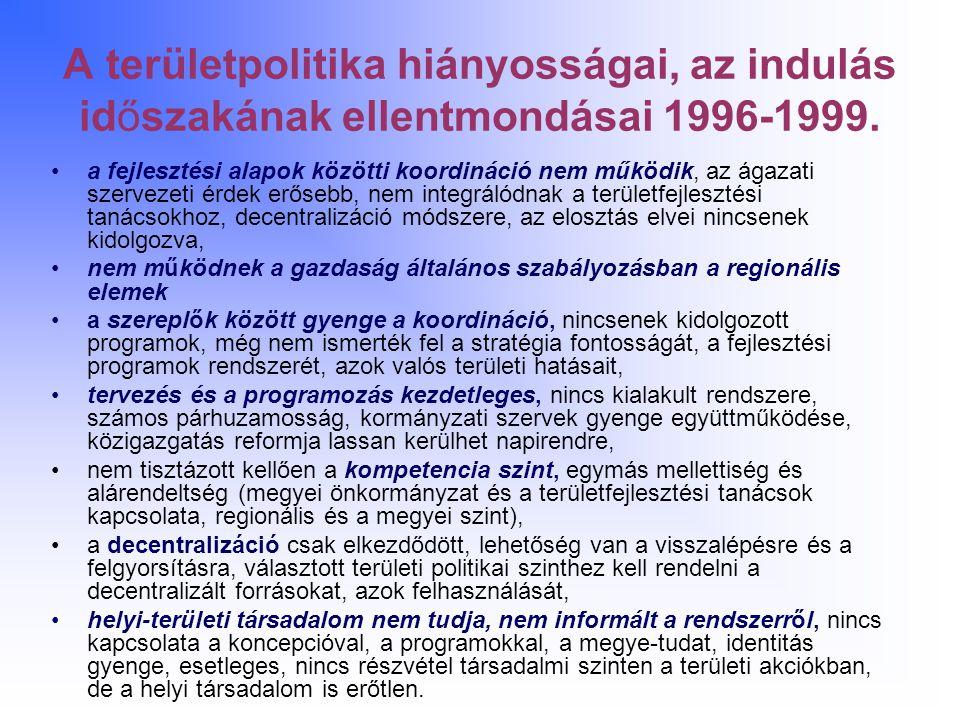A területpolitika hiányosságai, az indulás időszakának ellentmondásai 1996-1999. a fejlesztési alapok közötti koordináció nem működik, az ágazati szer