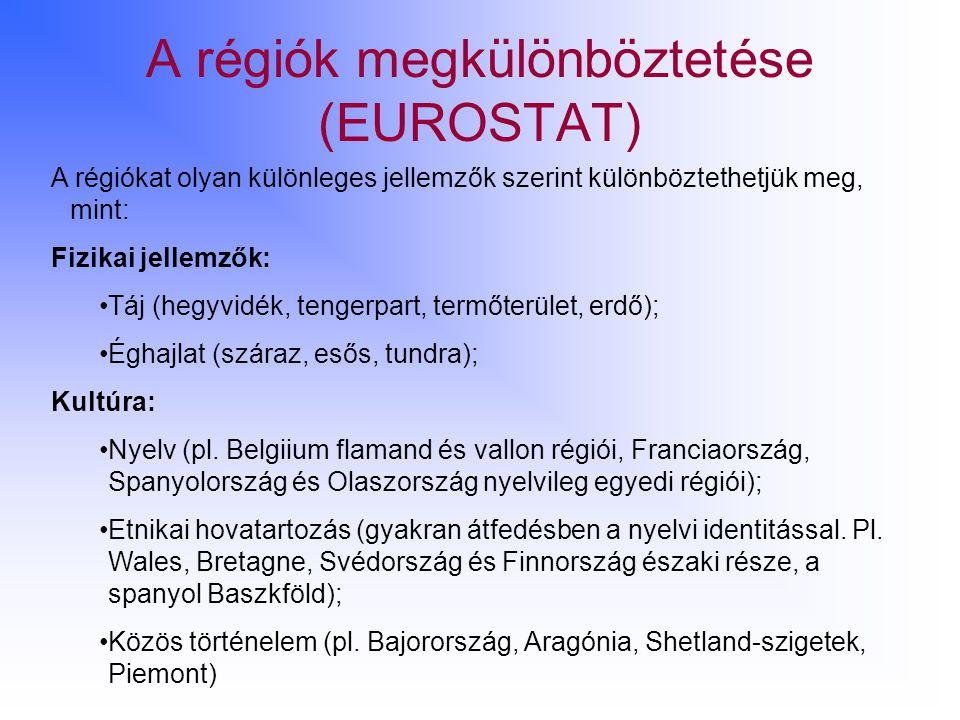 A régiók megkülönböztetése (EUROSTAT) A régiókat olyan különleges jellemzők szerint különböztethetjük meg, mint: Fizikai jellemzők: Táj (hegyvidék, te