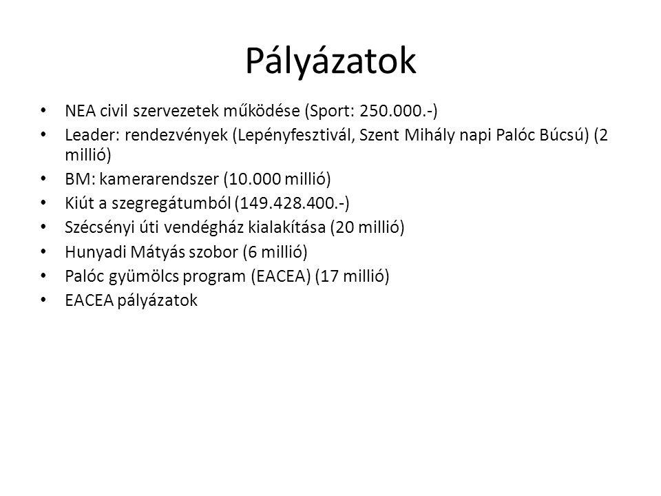 Pályázatok NEA civil szervezetek működése (Sport: 250.000.-) Leader: rendezvények (Lepényfesztivál, Szent Mihály napi Palóc Búcsú) (2 millió) BM: kamerarendszer (10.000 millió) Kiút a szegregátumból (149.428.400.-) Szécsényi úti vendégház kialakítása (20 millió) Hunyadi Mátyás szobor (6 millió) Palóc gyümölcs program (EACEA) (17 millió) EACEA pályázatok