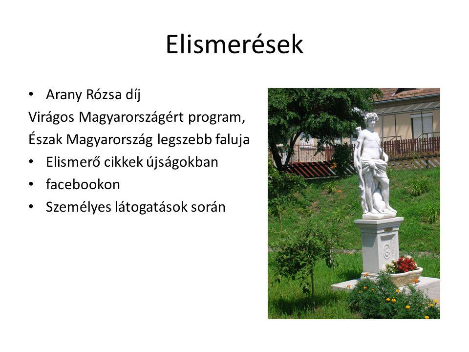 Elismerések Arany Rózsa díj Virágos Magyarországért program, Észak Magyarország legszebb faluja Elismerő cikkek újságokban facebookon Személyes látoga