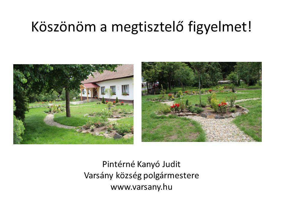 Köszönöm a megtisztelő figyelmet! Pintérné Kanyó Judit Varsány község polgármestere www.varsany.hu