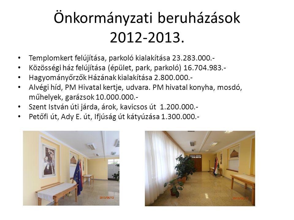 Önkormányzati beruházások 2012-2013. Templomkert felújítása, parkoló kialakítása 23.283.000.- Közösségi ház felújítása (épület, park, parkoló) 16.704.