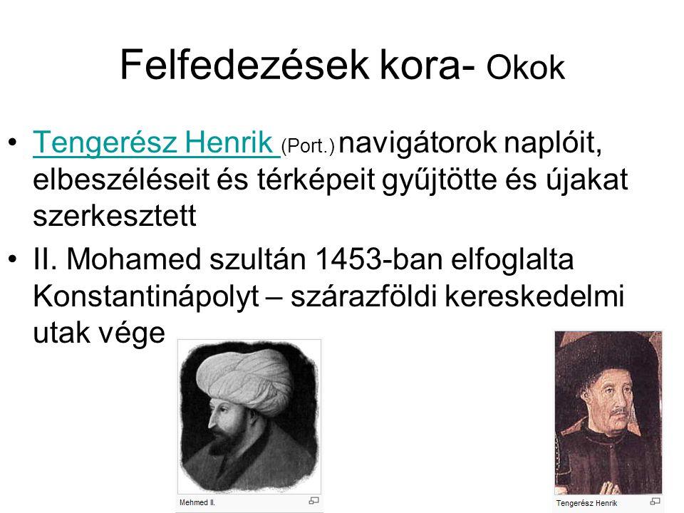 Felfedezések kora- Okok Tengerész Henrik (Port.) navigátorok naplóit, elbeszéléseit és térképeit gyűjtötte és újakat szerkesztettTengerész Henrik II.