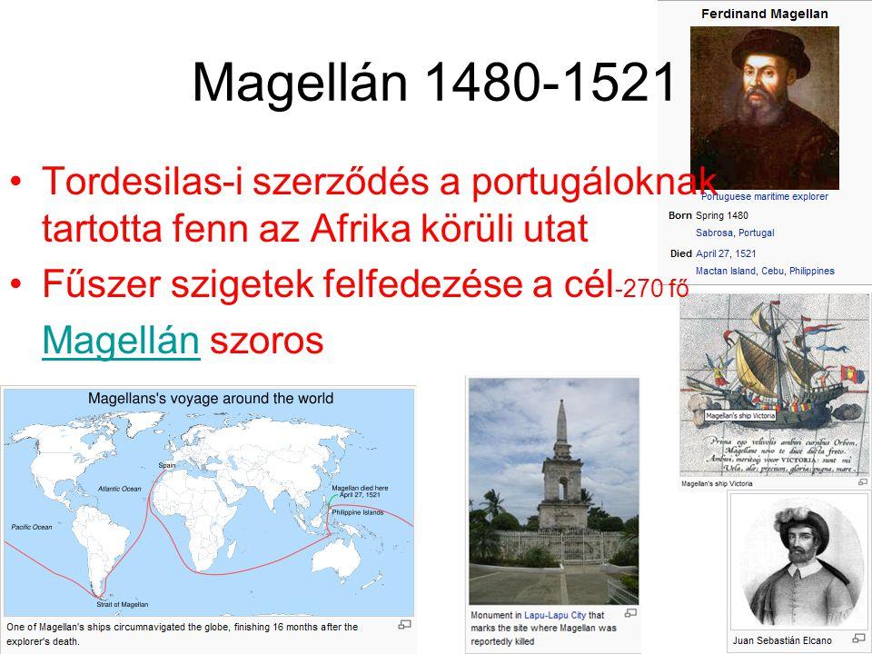Magellán 1480-1521 Tordesilas-i szerződés a portugáloknak tartotta fenn az Afrika körüli utat Fűszer szigetek felfedezése a cél -270 fő MagellánMagell