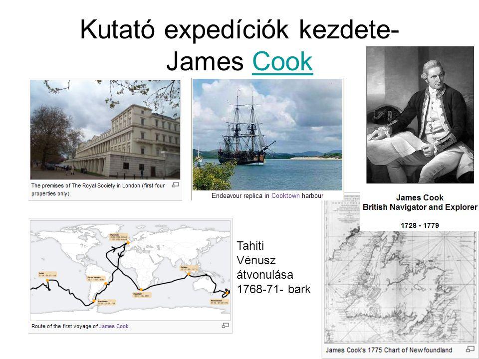 Kutató expedíciók kezdete- James CookCook Tahiti Vénusz átvonulása 1768-71- bark