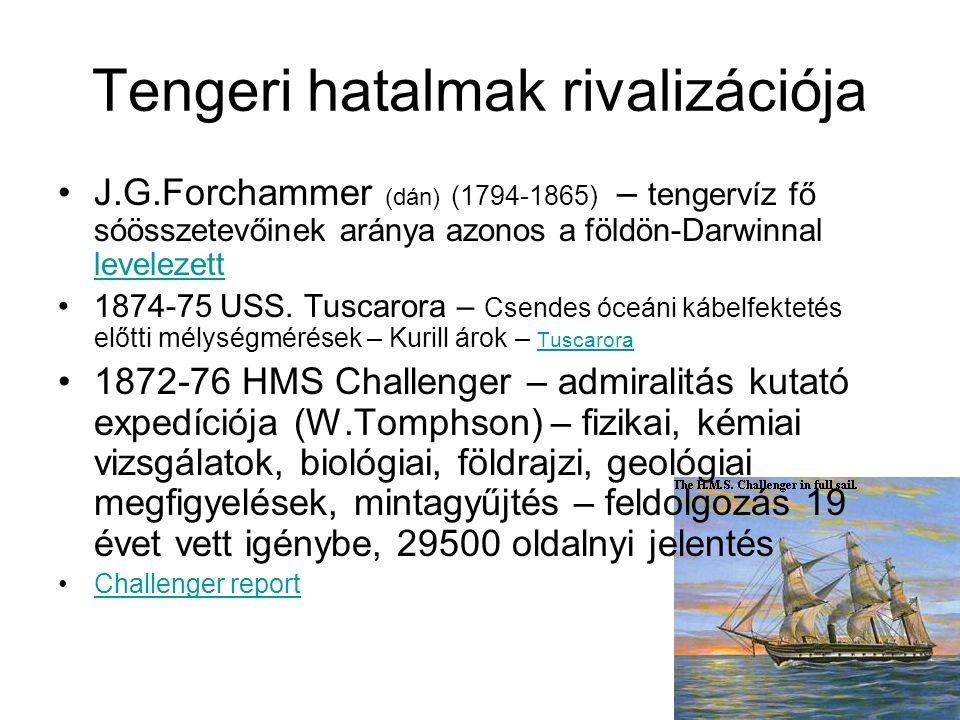 Tengeri hatalmak rivalizációja J.G.Forchammer (dán) (1794-1865) – tengervíz fő sóösszetevőinek aránya azonos a földön-Darwinnal levelezett levelezett