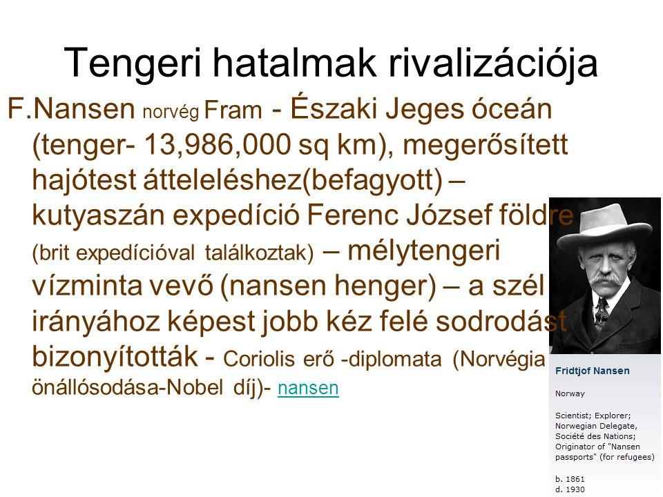 Tengeri hatalmak rivalizációja F.Nansen norvég Fram - Északi Jeges óceán (tenger- 13,986,000 sq km), megerősített hajótest átteleléshez(befagyott) – k