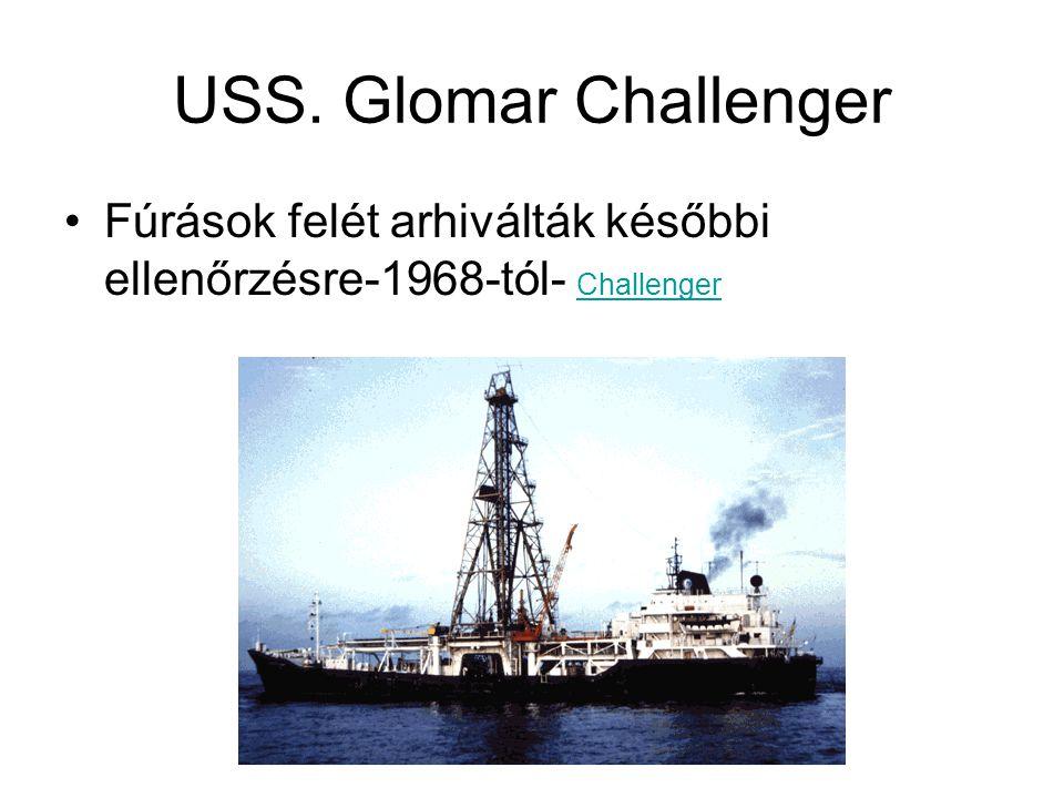 USS. Glomar Challenger Fúrások felét arhiválták későbbi ellenőrzésre-1968-tól- Challenger Challenger