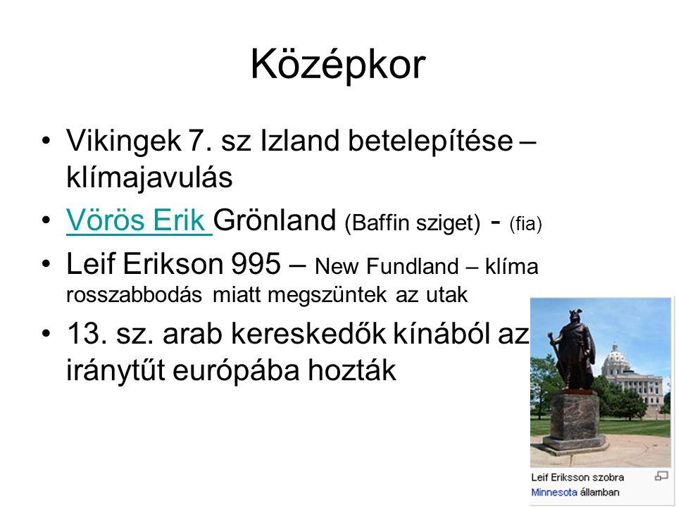 Középkor Vikingek 7. sz Izland betelepítése – klímajavulás Vörös Erik Grönland (Baffin sziget) - (fia)Vörös Erik Leif Erikson 995 – New Fundland – klí