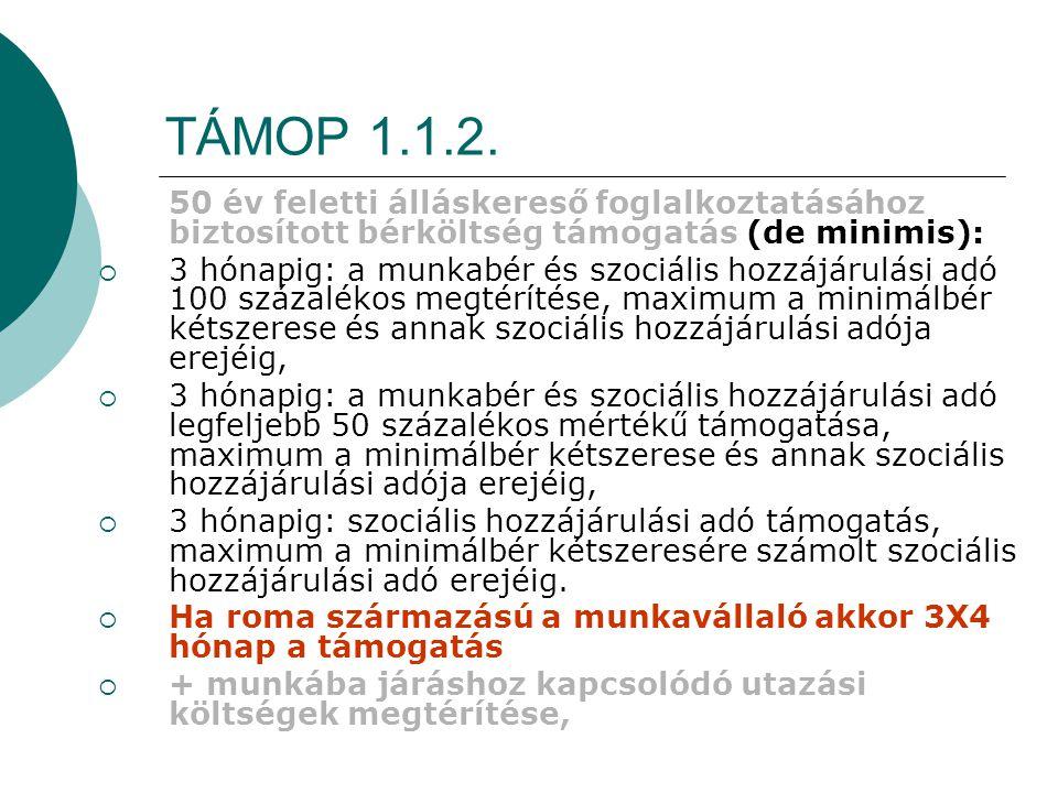 TÁMOP 1.1.2. 50 év feletti álláskereső foglalkoztatásához biztosított bérköltség támogatás (de minimis):  3 hónapig: a munkabér és szociális hozzájár