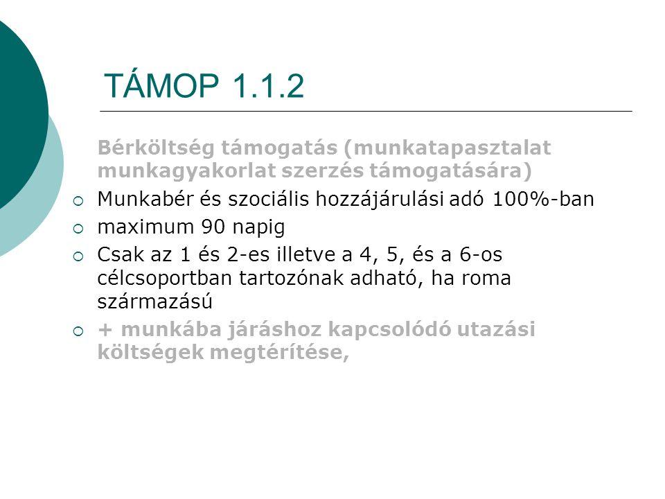 TÁMOP 1.1.2 Bérköltség támogatás (munkatapasztalat munkagyakorlat szerzés támogatására)  Munkabér és szociális hozzájárulási adó 100%-ban  maximum 9