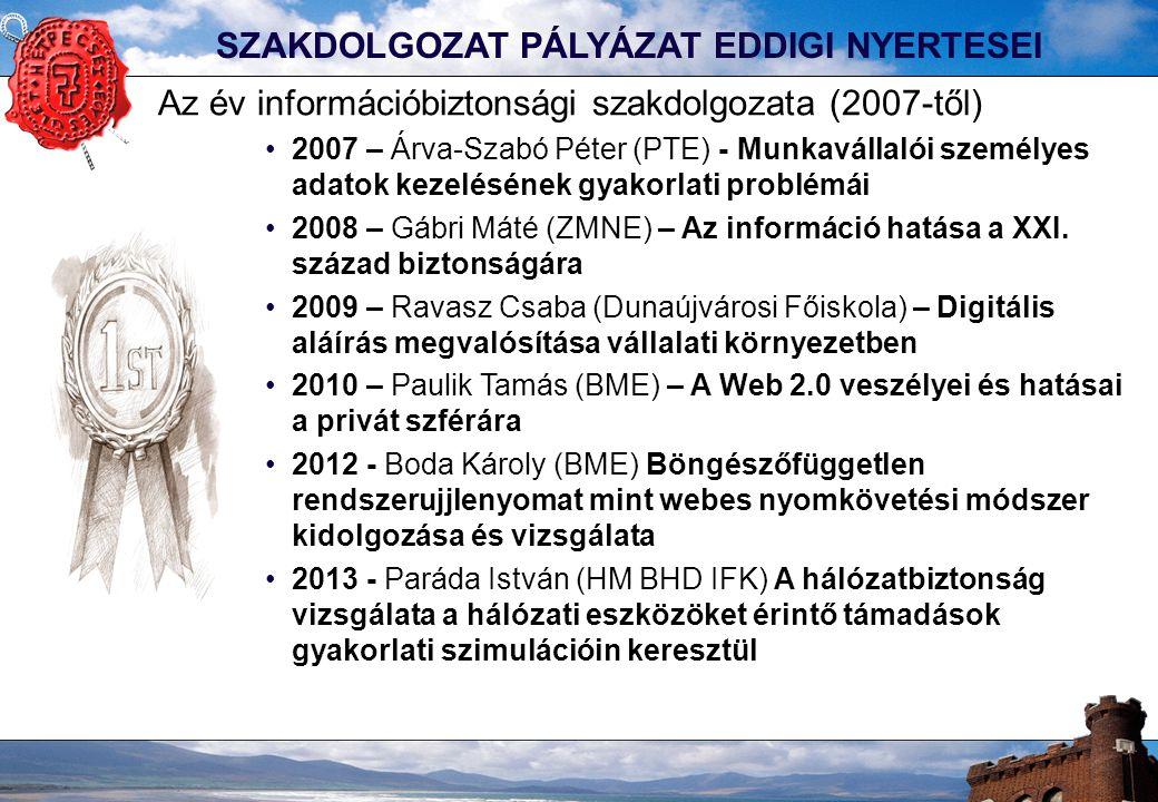 SZAKDOLGOZAT PÁLYÁZAT EDDIGI NYERTESEI Az év információbiztonsági szakdolgozata (2007-től) 2007 – Árva-Szabó Péter (PTE) - Munkavállalói személyes adatok kezelésének gyakorlati problémái 2008 – Gábri Máté (ZMNE) – Az információ hatása a XXI.