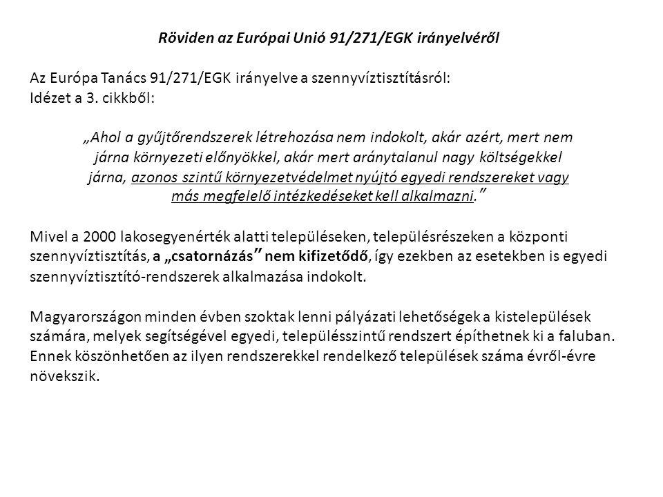 """Röviden az Európai Unió 91/271/EGK irányelvéről Az Európa Tanács 91/271/EGK irányelve a szennyvíztisztításról: Idézet a 3. cikkből: """"Ahol a gyűjtőrend"""