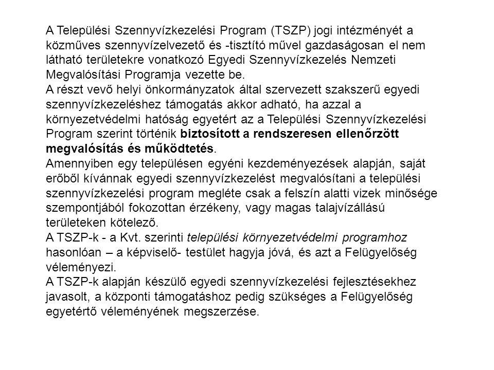 A Települési Szennyvízkezelési Program (TSZP) jogi intézményét a közműves szennyvízelvezető és -tisztító művel gazdaságosan el nem látható területekre