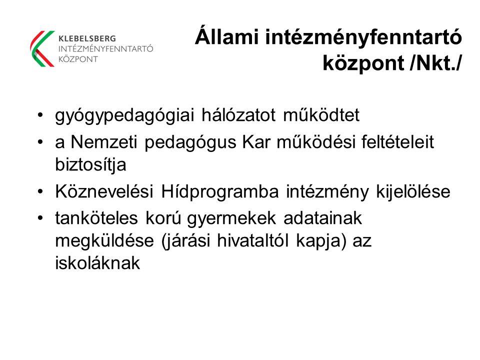Állami intézményfenntartó központ /Nkt./ gyógypedagógiai hálózatot működtet a Nemzeti pedagógus Kar működési feltételeit biztosítja Köznevelési Hídpro