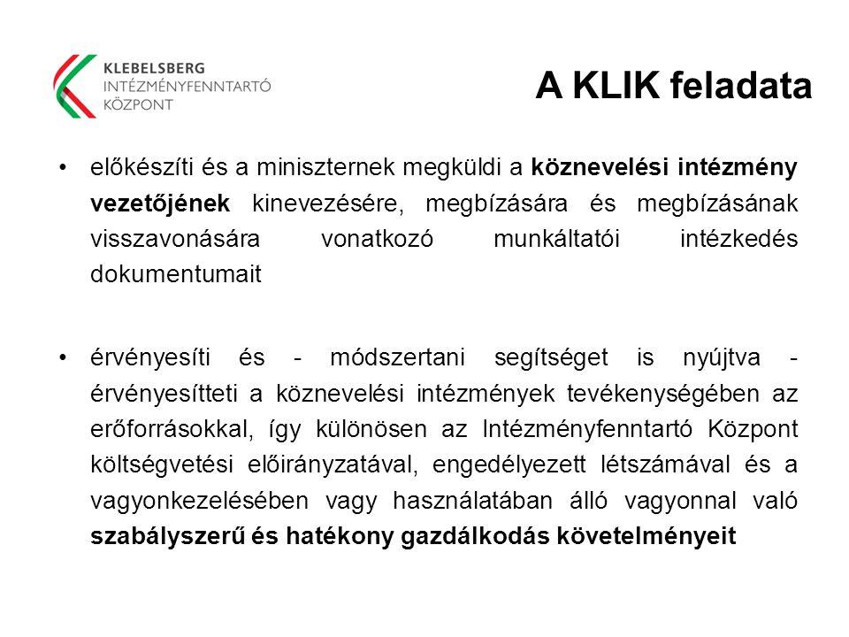 A KLIK feladata előkészíti és a miniszternek megküldi a köznevelési intézmény vezetőjének kinevezésére, megbízására és megbízásának visszavonására von