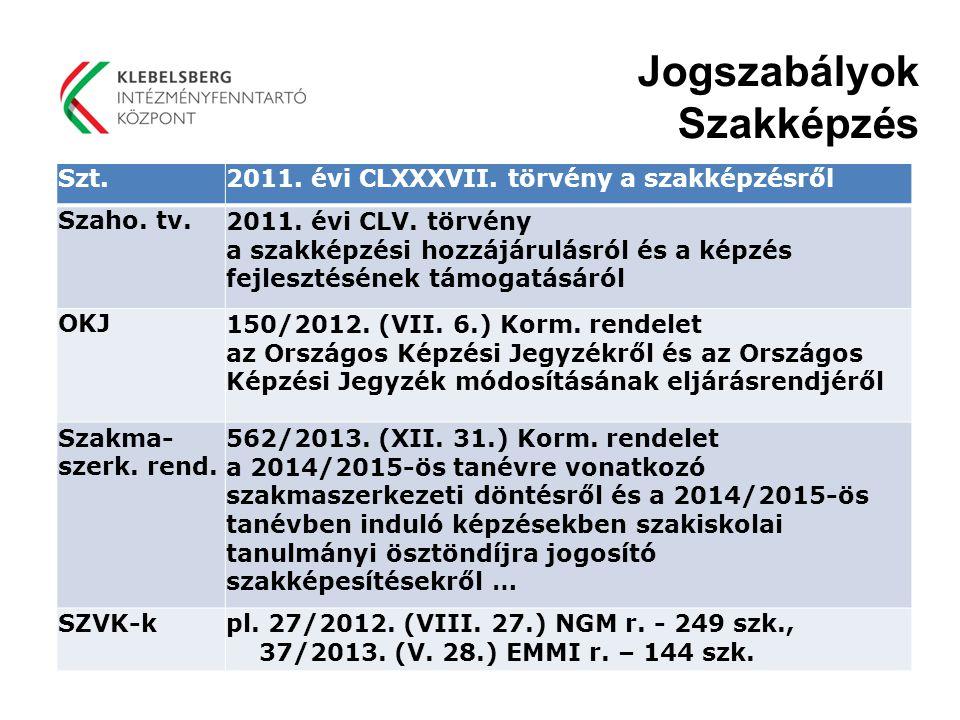 Szt.2011. évi CLXXXVII. törvény a szakképzésről Szaho. tv.2011. évi CLV. törvény a szakképzési hozzájárulásról és a képzés fejlesztésének támogatásáró