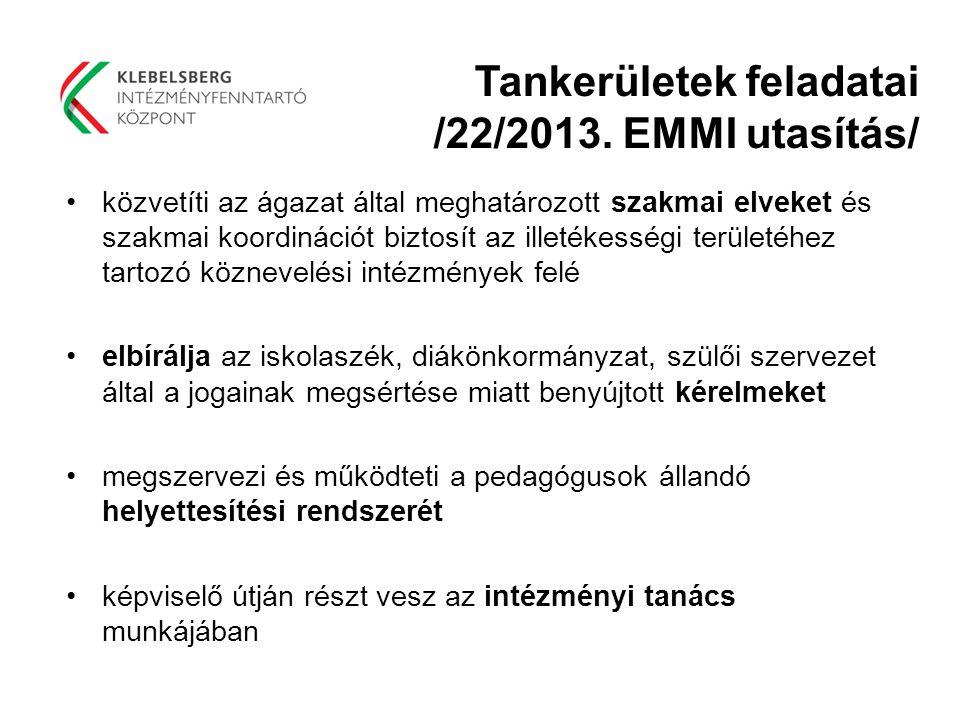 Tankerületek feladatai /22/2013. EMMI utasítás/ közvetíti az ágazat által meghatározott szakmai elveket és szakmai koordinációt biztosít az illetékess
