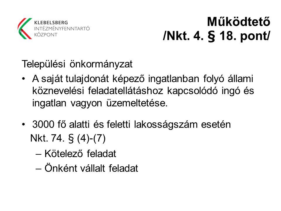 Működtető /Nkt. 4. § 18. pont/ Települési önkormányzat A saját tulajdonát képező ingatlanban folyó állami köznevelési feladatellátáshoz kapcsolódó ing