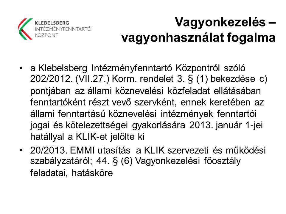 Vagyonkezelés – vagyonhasználat fogalma a Klebelsberg Intézményfenntartó Központról szóló 202/2012. (VII.27.) Korm. rendelet 3. § (1) bekezdése c) pon