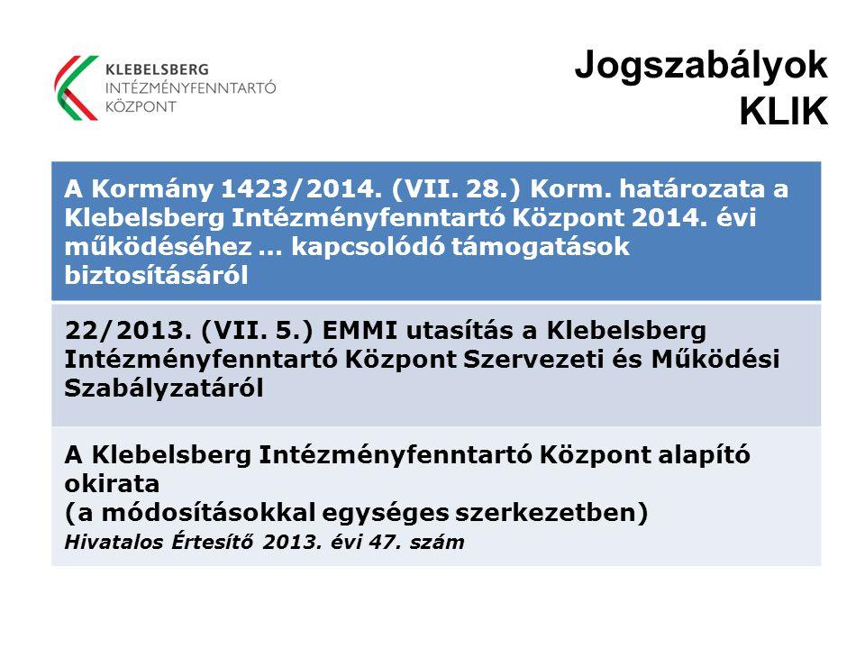 Jogszabályok KLIK A Kormány 1423/2014. (VII. 28.) Korm. határozata a Klebelsberg Intézményfenntartó Központ 2014. évi működéséhez … kapcsolódó támogat