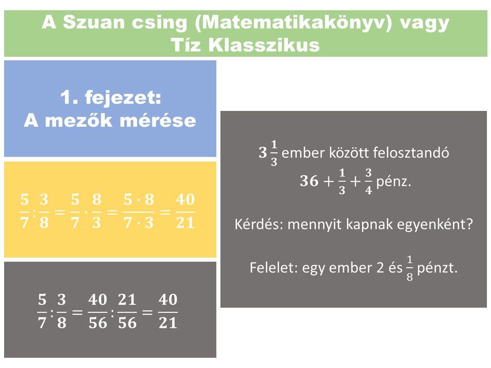 A Szuan csing (Matematikakönyv) vagy Tíz Klasszikus 1. fejezet: A mezők mérése